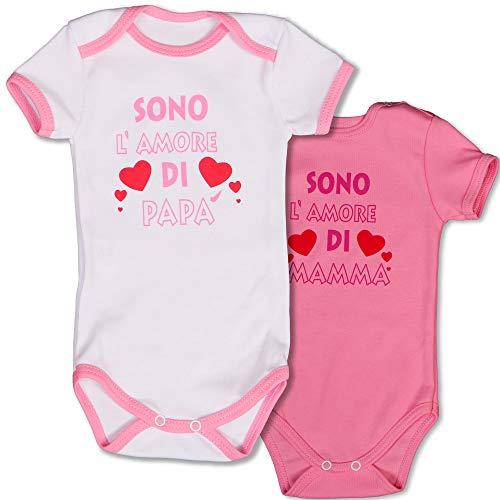 Body bimba 0-3 mesi / 62 cm | pacco da due | 100% cotone | bianco e rosa | perfetta idea regalo | divertenti con scritta sono l'amore di mamma & sono l'amore di papà | manica corta