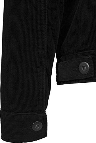 Urban Classics TB1797 Herren und Jungen Sherpa Corduroy Jacket, klassische Kord Trucker-Jeansjacke für Herbst und Winter, mit Fell warm gefüttert Schwarz (Black 825)