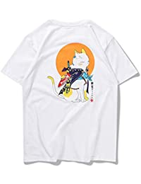 DXYXHLK Camisetas de Gatos Hombres Verano Harajuku Camisetas de Manga Corta Casuales Camisetas Camisetas Divertidas Asiático