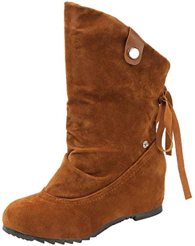 Oudan Martin stivali Ladies scarpe Fashion Suede Zeppe a a a Punta Tonda Scarpe Stivaletti di Puro Coloreee Mantenere Calde...   una grande varietà  65a3c7