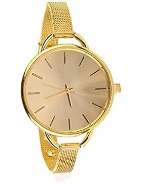Fortan Frauen-Damen verdünnen Bügel-Edelstahl-Band-Analog-Quarz-Armband-Armbanduhr-Gold