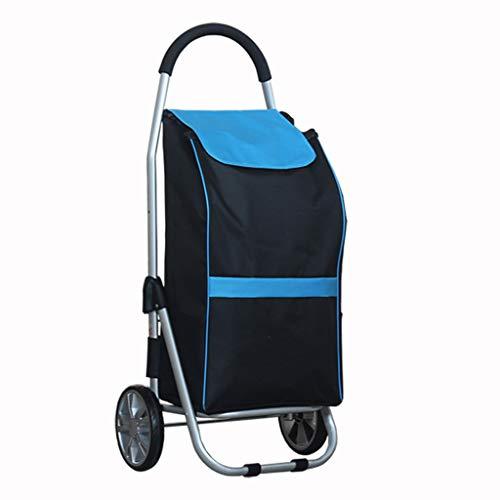JHome-Einkaufstrolleys Leichtes hartes Tragen in Oxford-Stoff-Einkaufslaufkatze faltender Aluminiumlegierungs-beweglicher Einkaufswagen für Lebensmittelgeschäfte, maximale Last 40kg, 53L, blau