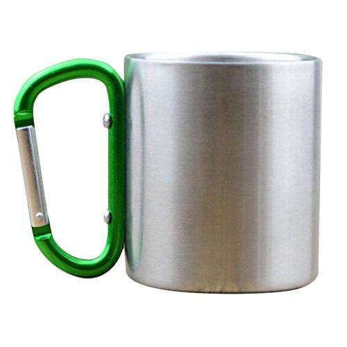 FLAMEER Aluminium Camping Kaffeebecher Kaffeetasse 180 ml mit Karabiner, 9,3 cm x 7,8 cm - Grün