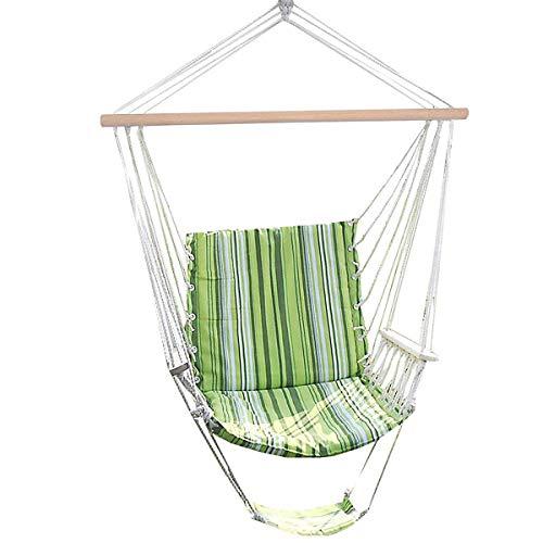 Costway sedia sospesa poltrona sospesa amaca sedia con poggiapiedi braccioli, verde a righe