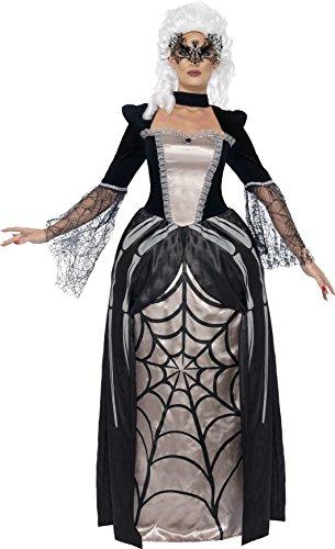 Smiffys, Damen Schwarze Witwe Baronin Kostüm, Bedrucktes Kleid, Größe: M, 43741