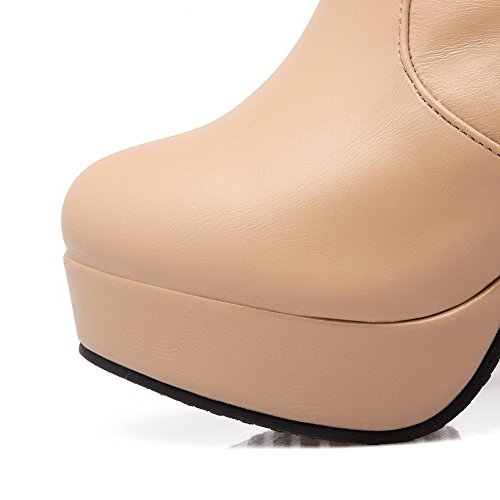 VogueZone009 Damen Hoher Absatz Ziehen Auf Hoch-Spitze Pu Leder Stiefel Aprikosen Farbe