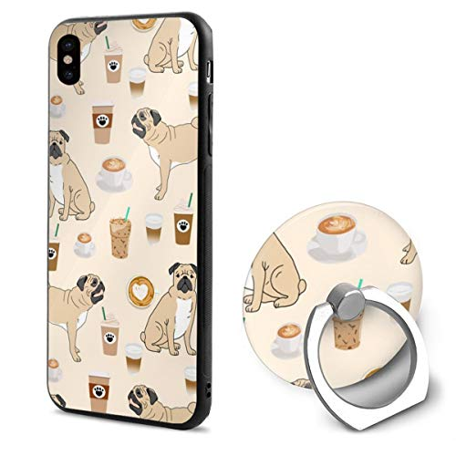 False warm warm iPhone XR Ring Bracket Case Pugs and Coffee Cute Coffee Latte Pug Dog Cute Pet Lovers TPU Bumper Protective Case for Apple iPhone XR 6.1 Inch 2018 Release Crystal Lace Design