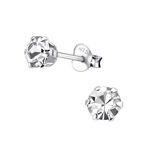 Laimons Orecchini a pressione da donna gioielli da donna Con brillantini rotondo Bianco Argento Sterling 925