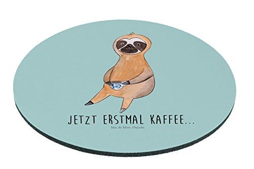 Mr. & Mrs. Panda Mauspad rund Faultier Kaffee - 100% handmade in Norddeutschland - Gummi Natur Kautschuk, Morgenmuffel, Maus, Arbeitszimmer, Kaffee, Druck, Mouse Pad rund, Mauspad, Mousepad, Frühaufsteher, PC, Motiv