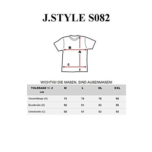 BOLF Herren T-Shirt Tee Kurzarm Party Print Slim Fit Rundhals Casual 3C3 Motiv Weiß-Rot