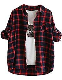 70959f1ef Señoras de las mujeres camisa a cuadros blusa superior