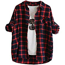 389cb5e947 Señoras de las mujeres camisa a cuadros blusa superior