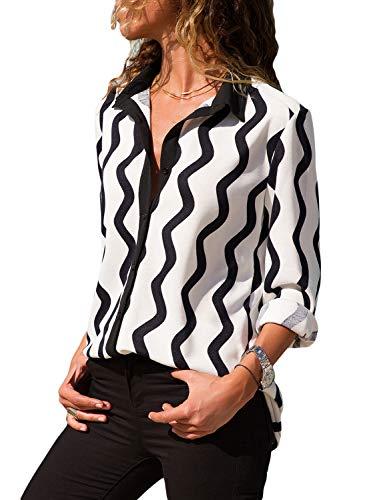 v Ausschnitt Langarm Shirt Casual Oberteile mit Knopf Loose einfarbig Weiß S ()
