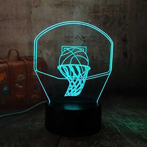 SZQLL 3D Nachtlichter Weihnachtsgeschenke 3D Basketballkorb Sport Dekoration LED Illusion USB Touch 7 Farbwechsel Lampe Schlafzimmer Nachtlicht Kind Jungen Mann Geschenk
