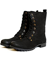 19aa3dc97843 Aspele Womens Leather Black Brown Combat Military Style Biker Ankle Boots  with Lace up and