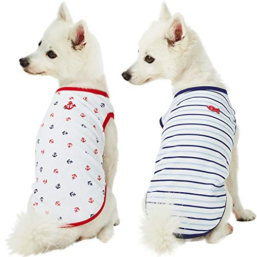 Blueberry Pet Doppelpackung Weich & Angenehm Meerliebhaber Seemann Baumwoll-Mischgewebe Hunde-T-Shirts, Rückenlänge 36cm, Bekleidung für Hunde -