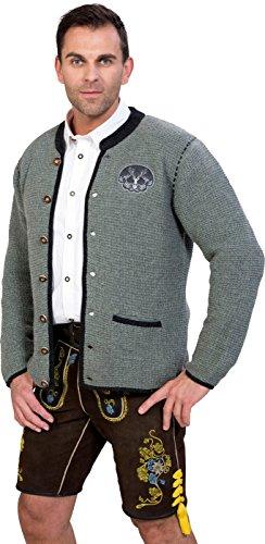 Almwerk Herren Trachten Strick Jacke Modell Ludwig, Größe Herren:58 - 4XL - Bundweite 105-109 cm;Farbe:Hellgrau - 4