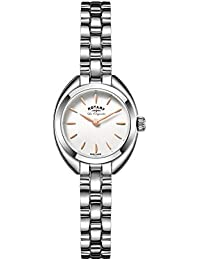 Rotary Women's Quartz Watch with White Dial Analogue Display and Silver Stainless Steel Bracelet LB90158/02