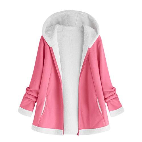 BOLANQ Damen Herbst Winter Bequem Lässig Mode Jacke Frauen Mode Frauen Knopf Mantel Flauschige Schwanz Tops Mit Kapuze Lose Mantel(X-Large,Hot pink)