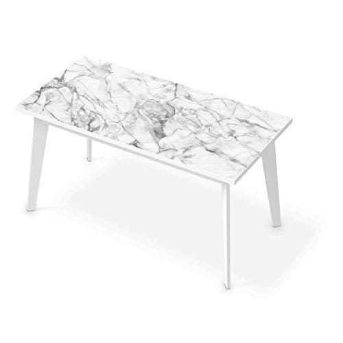 creatisto Tischdekor für Tisch 150x75 cm | Dekorfolien Tisch-Folie Sticker Aufkleber Möbelfolie abwaschbar - Tisch renovieren Küche | Design Motiv Marmor weiß