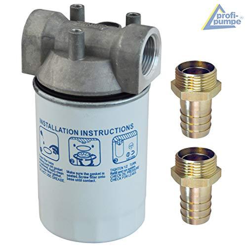 Kraftstofffilter, Dieselfilter mit austauschbarem Filter-Einsatz für Dieselpumpen Kraftstoffpumpe Heizölpumpen Umfüllpumpen plus Messing Schlauchtülle 1