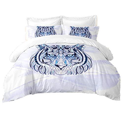 Weiß 3stk Bettbezug Tiere Stammes-Muster Mikrofaser Bettwäsche mit 2 Kissensätzen, Hip Hop-Thema Mode Bett werfen (Tiger, 200 x 200 cm)