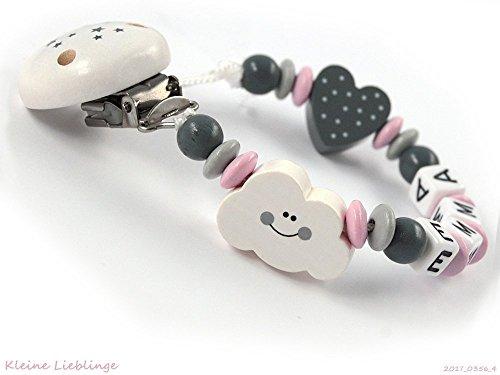 Schnullerkette mit Namen Mädchen - Wolke Herz - rosa grau weiß - Baby Geschenk Holz - Holzbuchstaben - Silikonring