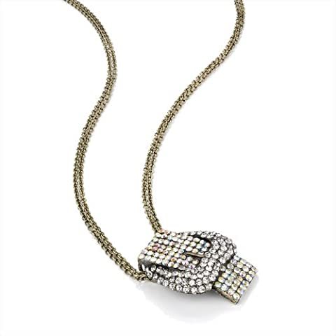 Ladies Womens Girls Fashion Costume Jewellery Burnished Gold Effect Crystal Buckle Chain Necklace