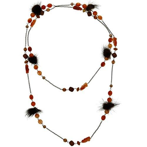 Behave Orange Halskette breit - Außergewöhnliche Halskette mit braunen und mit roten Perlen - Einzigartige Perlenkette für sie