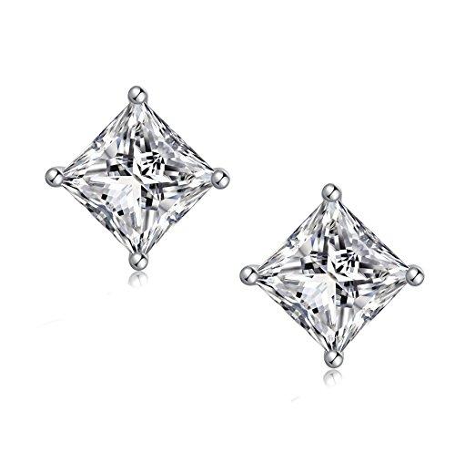 Jiahanzb Orecchini in Argento Sterling 925, Diamante Quadrato Taglio Brillante Orecchini in Zircone Chiaro per Orecchini Donna, Orecchini a Bottone Unisex con Zircone Cubico 4-8mm