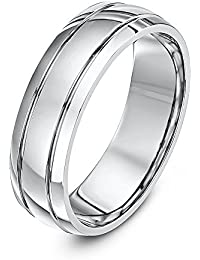 Theia Palladium 950 Court Shaped Double Side Groove Centre Embossed 6 mm Wedding Ring