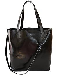 ac8d98c70a909 Sa-Lucca echt Leder Shopper Handtasche Damentasche Tasche Ledertasche schwarz  MADE IN ITALY