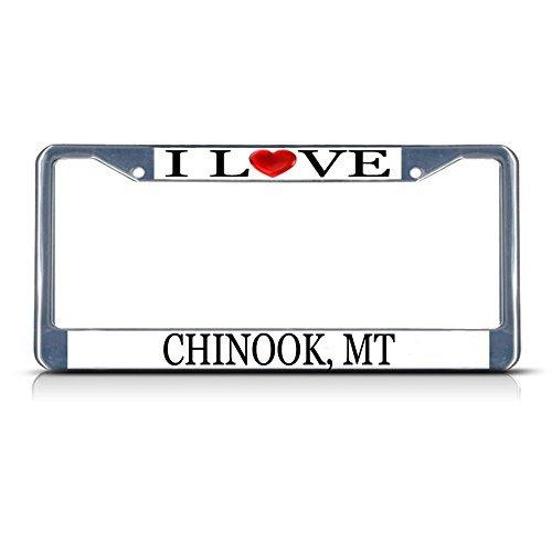 Preisvergleich Produktbild Nummernschild Rahmen I LOVE Herz Chinook MT Aluminium Metall Nummernschild Rahmen silber