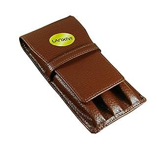 Lanxivi Housse de vachette cuir stylo Triple café poche fente séparée Pen étui plume