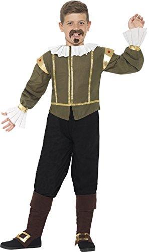 der Jungen Shakespeare Kostüm, Alter 10-12 Jahre, grün (Shakespeare Kleidung)