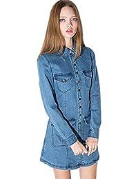 Moda Bolsillos en la Parte Delantera Cuello Denim Vaquero Jean Shirt Camisero Camisa Vestido en línea Pliegues Plisado Vuelo Mini Corti Corto Vestido Azul