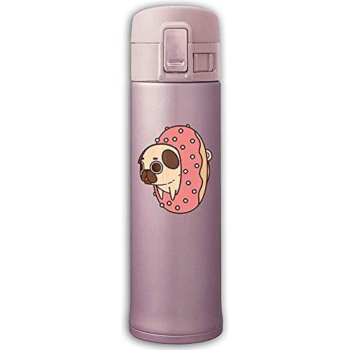 Edelstahl-Saugflasche Cartoon Donut Pug Wasserflasche mit Bounce Cover Pink