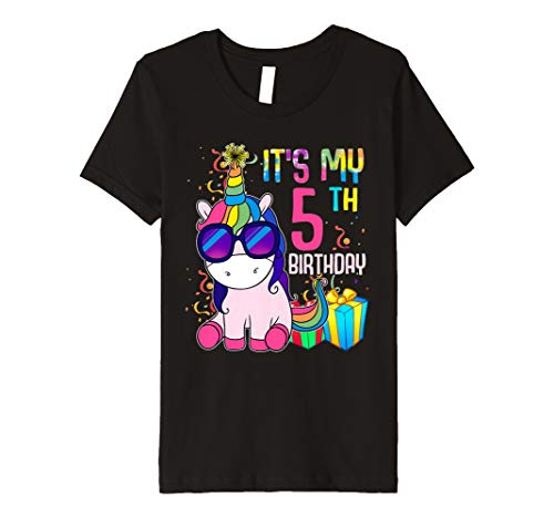 Youth 5 Years Old 5th Birthday Unicorn Shirt Girl Daughter Gift Pa