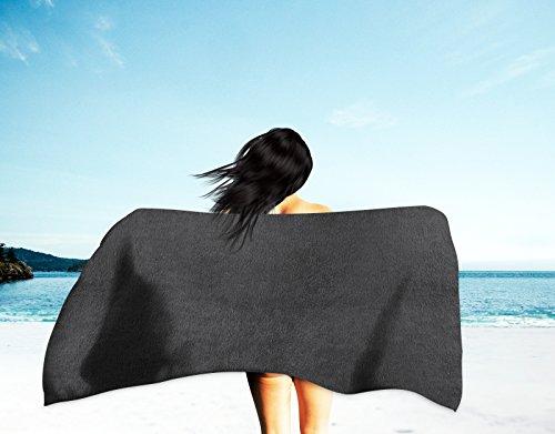 LAfashionist Strandhandtuch, Größe XL, 88,9 x 152,4 cm, Cabana-Streifen, für Strand/Pool/Spa, umweltfreundlich, 00% Baumwolle, hergestellt in der Türkei Large solide, schwarz - Cabana Streifen Strand Handtuch