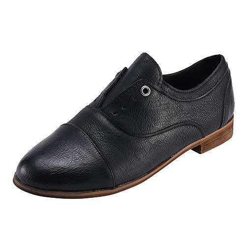 UFACE Vintage Damen Runde Zehe Schuhe Lederschuhe Slip-On -
