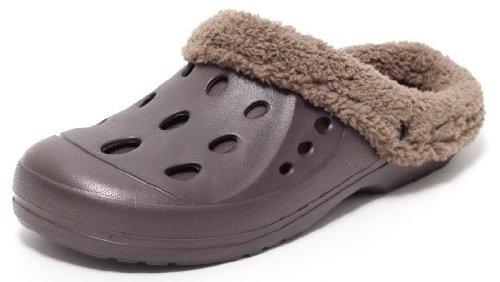 Damen Herren Warmfutter Clogs Hausschuhe Gartenschuhe Puschen Schuhe gefüttert Braun