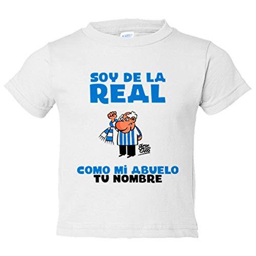 Camiseta niño soy de la Real Sociedad como mi abuelo personalizable con nombre - Blanco, 3-4 años