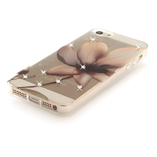 """MOONCASE iPhone 5/iPhone 5s/iPhone SE Coque, [Diamond Painting] Flexible Silicone Bling Housse Ultra Slim Anti-choc Protection Case pour iPhone 5/iPhone 5s/iPhone SE 4.0"""" Orchid Magnolia"""