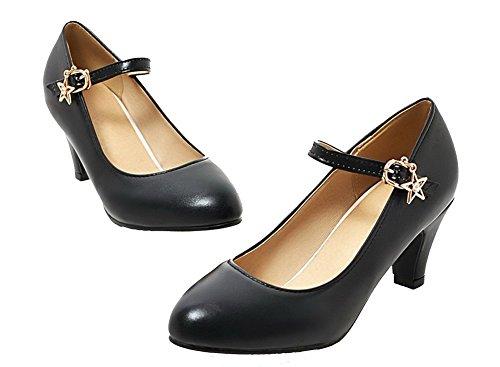 AgeeMi Shoes Donna Tacco Medio Luccichio Fibbia Punta Tonda Ballet-Flats Nero