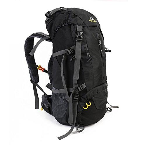 50L Rucksack Wasserdicht Outdoor Sport Wandern Trekking Camping TravelMountain ClimbingKnapsack mit Regen Cover60 x 30 x 20CM Schwarz