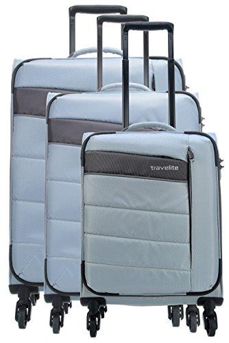 Travelite KITE 4-tlg. Kofferset, 4-Rad L/M erweiterbar/S, Bordtasche, Silber, 89940-56 Juego de maletas, 75 cm, 242 liters, Plateado (Silber)