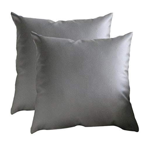Moonuy Kissenbezug 2 Stück Kunstleder Home Kissen Fall Throw Pillowcase Sofa Home Decor einfarbig 45 x 45 cm - Jordans Telefon Fall