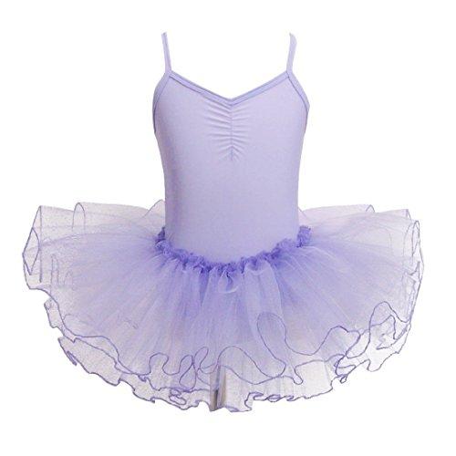 Mangotree Mädchen Ballettkleider Shirt Ballettanzug Turnanzug Girls Festzug Kleid Trikot Tanz Tüll Rock (Alter: 2-9 Jahre) (Lavendel, 120 (für 3-4 Jahre)) -