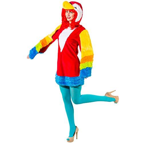 Bunter Vogel Kostüm - Unbekannt Damen Kostüm Papagei Birdy Kleid