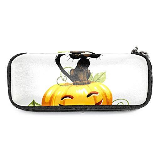 TIZORAX Federmäppchen mit schwarzer Katze auf Halloween-Kürbis Federmäppchen, Stifttasche für Schule/Büro
